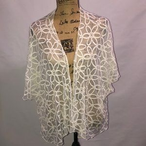 Sweaters - Floral Short Sleeve Cardigan L